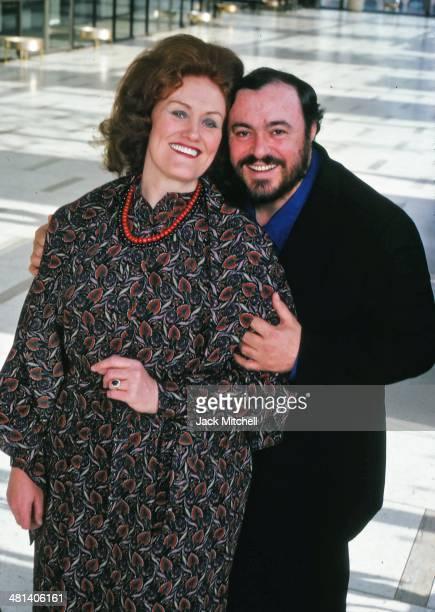 Italian operatic tenor Luciano Pavarotti with Australian coloratura soprano Dame Joan Sutherland inside Lincoln Center in New York City January 1979