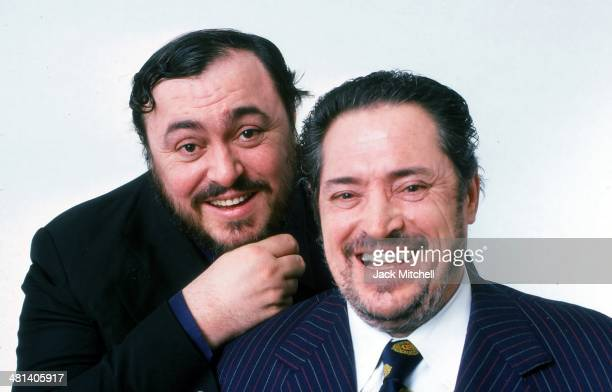 Italian operatic tenor Luciano Pavarotti with his father Fernando Pavarotti photographed in New York City in March 1976