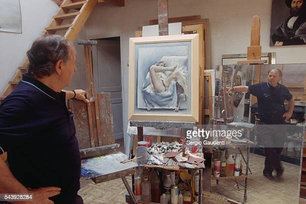 Italian Painter Paolo Vallorz in His Studio