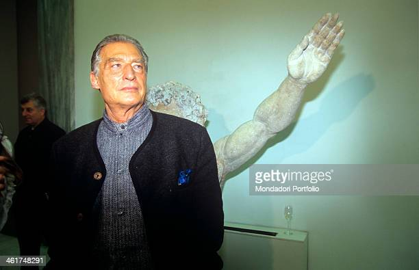 Italian painter, sculptor and poet Emilio Tadini, current dean of the Brera Academy, taken at the Triennale for the exhibition of Peter Lindbergh's...