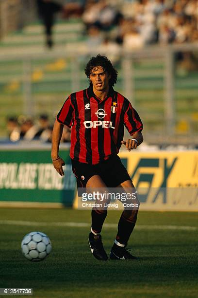 Italian Paolo Maldini playing for AC Milan