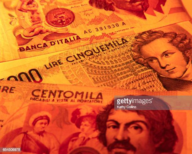 italian paper currency - kathy cash stock pictures, royalty-free photos & images