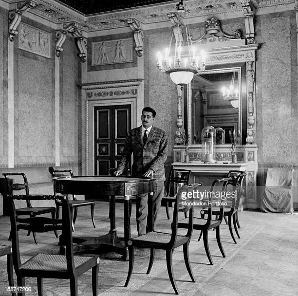 Italian partisan and lawyer Pier Luigi Bellini delle Stelle standing in the room where the sentence was read to fascist gerarchi including Benito...