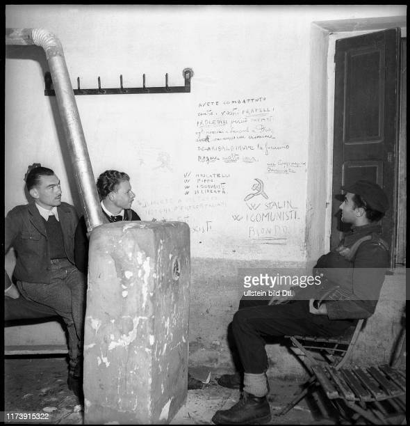 Italian partisans in the occupied customs house; 1944