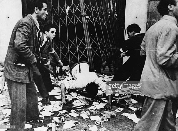 Italian Partisans questioning a ProFascist in Rome