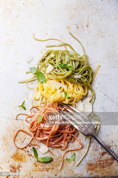 Italian pasta Italian flag colors with basil and parmesan