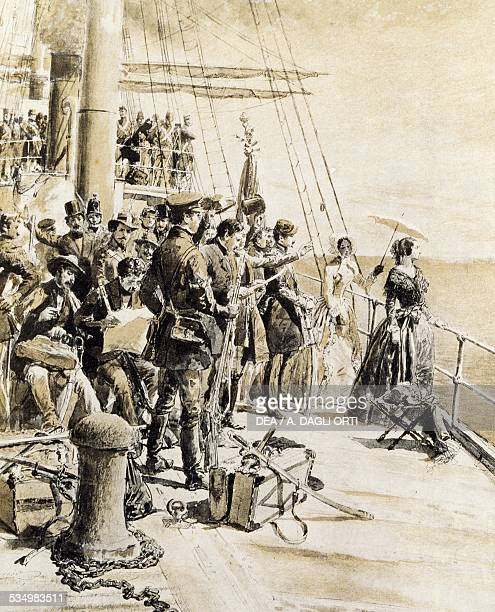 Italian patriot volunteers departing from the pier in Naples following Princess Belgioioso on March 29 woodcut by Edoardo Matania from Scenes of the...