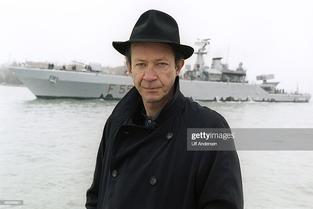 VENICE, ITALY - JANUARY 30. Italian philosopher Giorgio Agamben poses on the Grand Canal during a portrait session held on January 30, 2001 in Venice,Italy.