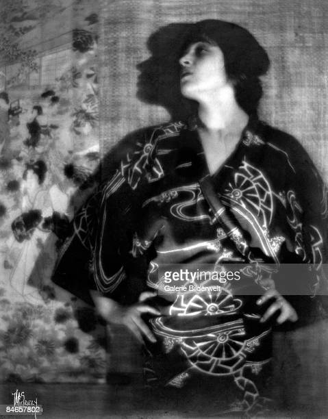 Italian photographer actress and political activist Tina Modotti wearing a batik robe which she designed herself Los Angeles 1921