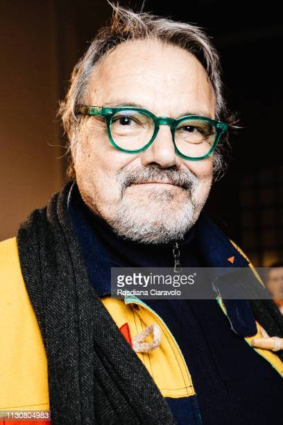 Italian Photographer Oliviero Toscani is seen backstage ahead of the United Colours Of Benetton show at Milan Fashion Week Autumn/Winter 2019/20 on...