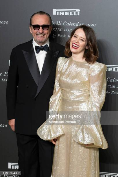 Italian photographer Paolo Roversi and British actress Claire Foy during the presentation of the Pirelli 2020 Calendar at the Verona Philharmonic...