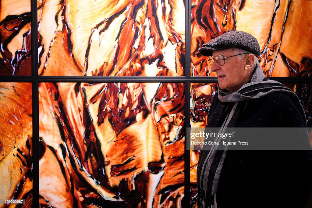 Italian photopher Nino Migliori unveils his exhibition 'Antologica' at Palazzo Fava on January 17, 2013 in Bologna, Italy.
