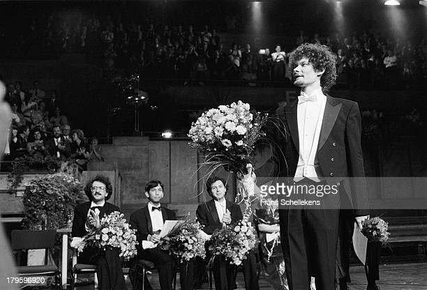 Italian pianist Enrico Pace wins the Franz List contest at Vredenburg in Utrecht, Netherlands on 27th May 1989. Behind are runner up Aleksey...