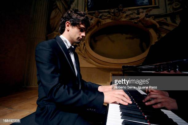 Italian pianist Jacopo Giacopuzzi performs with ukraine violinist Anastasiya Petryshak for Bologna Festival at Oratorio San Filippo Neri on May 2...