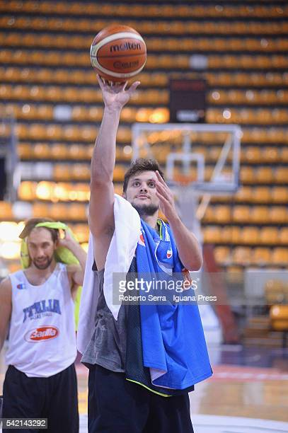 Italian player Alessandro Gentile of Euroleague's Olimpia EA7 Armani Milan attends a practice with Italian Basketball National Team at PalaDozza on...
