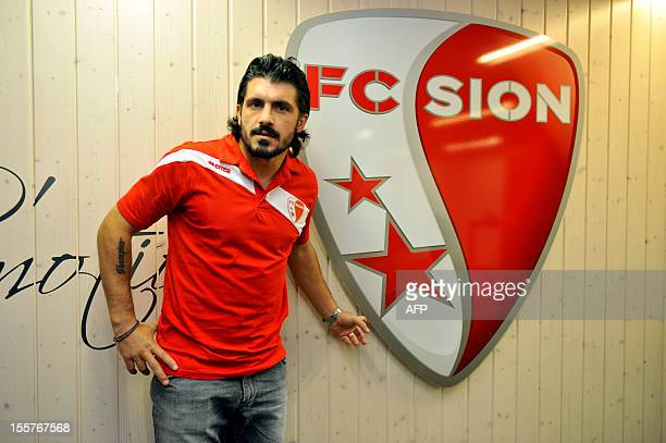 Italian player and captain of the Swiss football club FC Sion Gennaro Gattuso poses during a press conference on November 8, 2012 in Sion. AFP PHOTO...