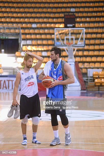 Italian player Giuseppe Poeta of Dolomiti Energia Trento and Alessandro Gentile of Euroleague's Olimpia EA7 Armani Milan attends a practice with...