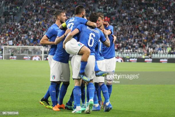 Italian players celebrate Andrea Belotti's goal subsequently canceled by the referee during the friendly football match between Italy and Holland at...
