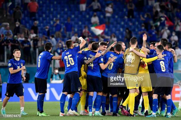 Italian players celebrate the victory at the end of the Uefa Euro 2020 Group A football match between Italy and Switzerland. Italy won 3-0 over...