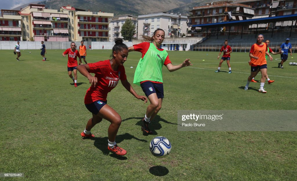 Italian players in action during the Italy women U19 photocall and training session on July 12, 2018 in Formia, Italy.