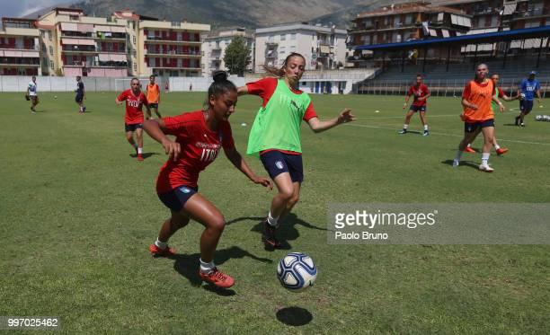 Italian players in action during the Italy women U19 photocall and training session on July 12 2018 in Formia Italy