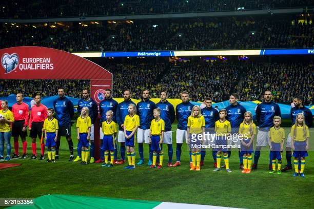 Italian players lineup during the FIFA 2018 World Cup Qualifier PlayOff First Leg between Sweden and Italy at Friends arena on November 10 2017 in...