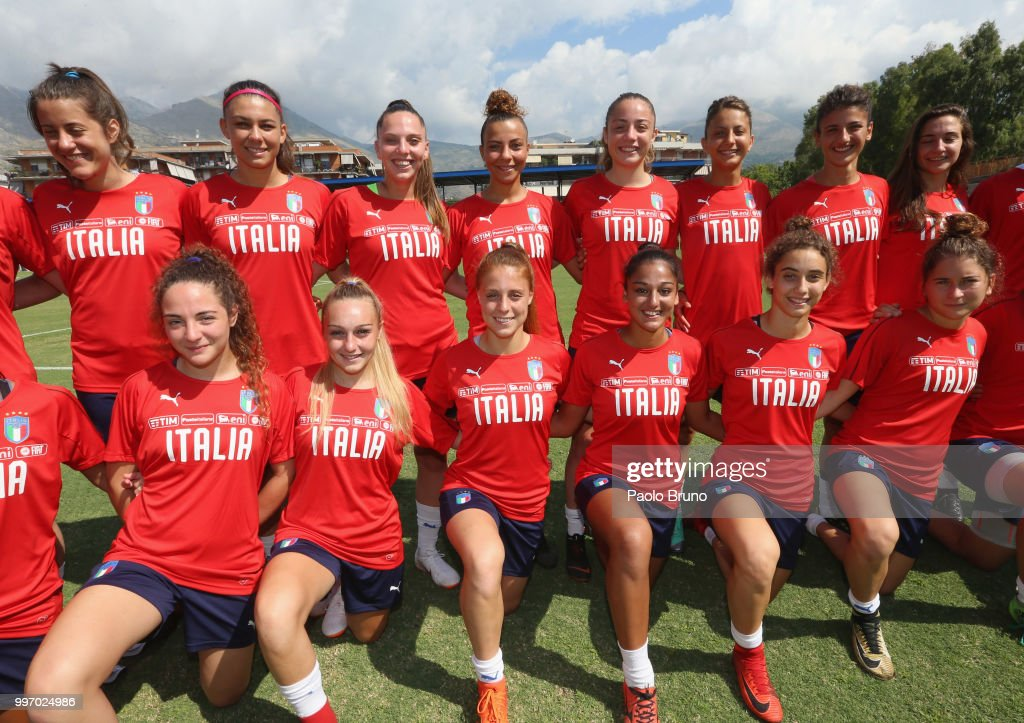 Italian players pose during the Italy women U19 photocall and training session on July 12, 2018 in Formia, Italy.