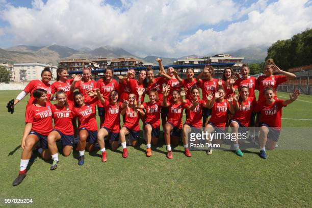 Italian players pose during the Italy women U19 photocall and training session on July 12 2018 in Formia Italy