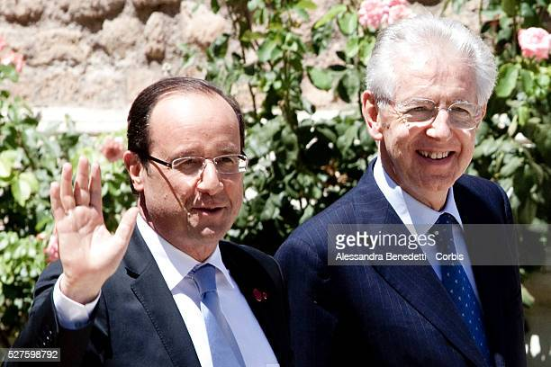 Italian PM Mario Monti welcomes Presidente of France Fran��ois Hollande during a quadrilateral Meeting With Angela Merkel Rajoy at Villa Madama in...