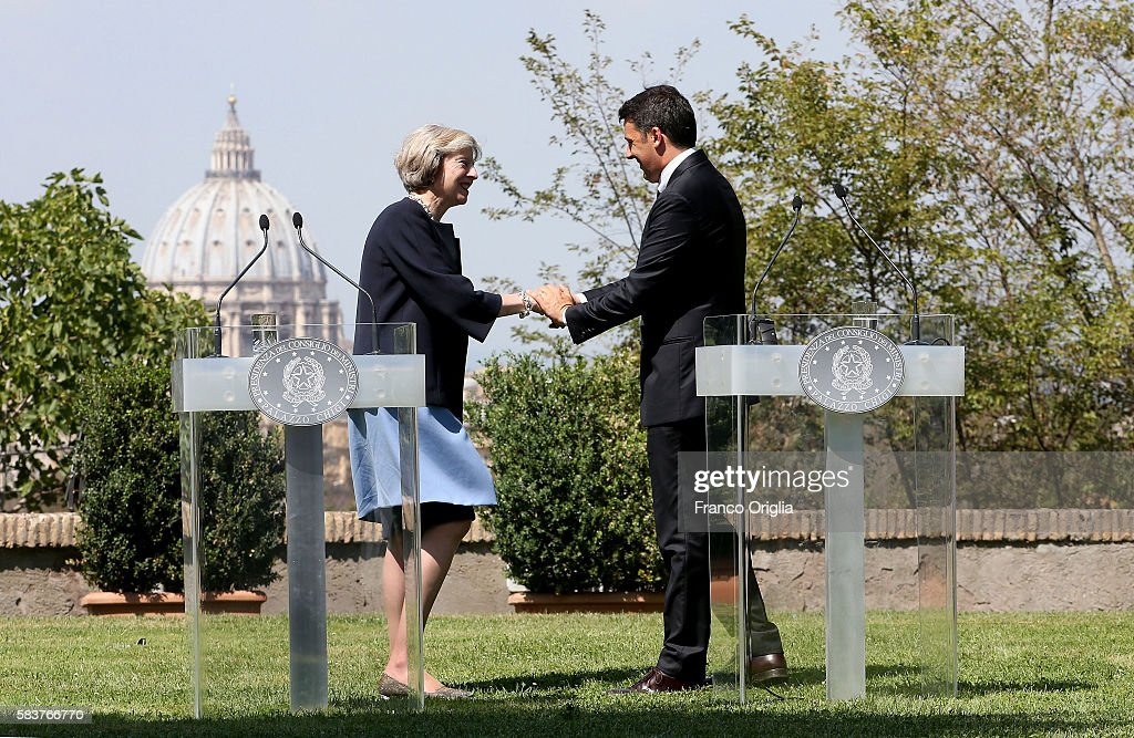 UK PM Teresa May Holds Talks With Italian PM Matteo Renzi : News Photo