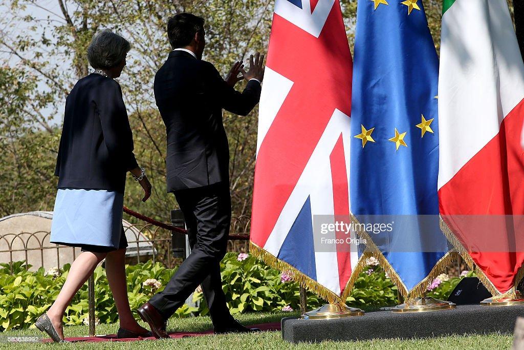 UK PM Teresa May Holds Talks With Italian PM Matteo Renzi : News Photo