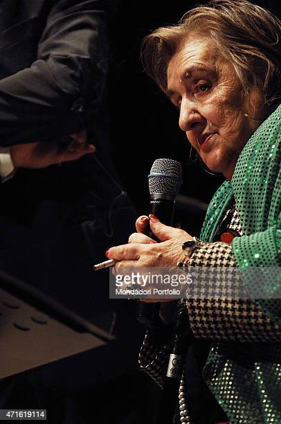 'Italian poet and writer Alda Merini presenting the album Rasoi di seta with twentyone poemsongs set to music and played by Italian musician and...