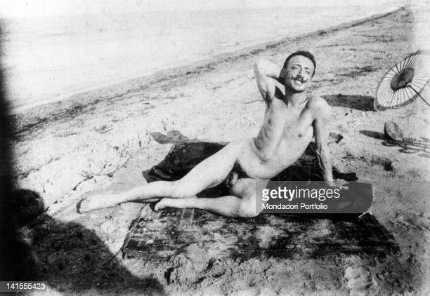 Italian poet and writer Gabriele D'Annunzio lying naked on the beach Francavilla al Mare 1880s