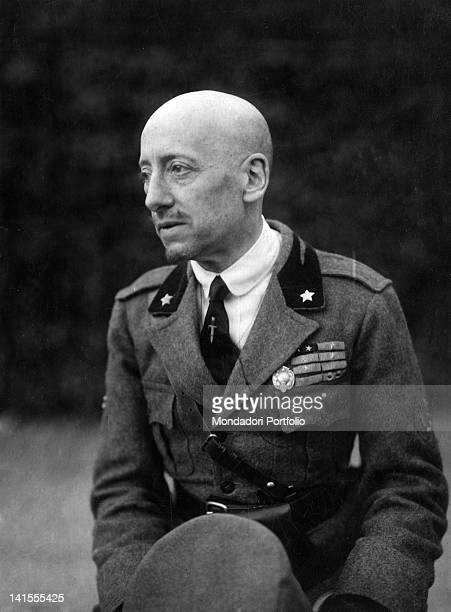 Italian poet and writer Gabriele D'Annunzio wearing military clothing 1910s