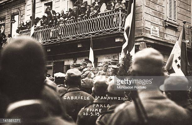 Italian poet Gabriele D'Annunzio addressing the crowd in a square of Fiume now Rijeka Fiume 20th September 1919