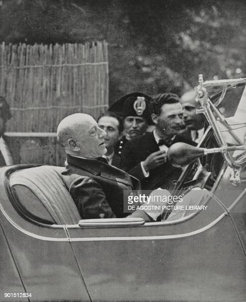 Italian poet Gabriele D'Annunzio enters the motorboat club on a car Gardone Riviera Italy from L'Illustrazione Italiana year LVIII n 21 May 24 1931