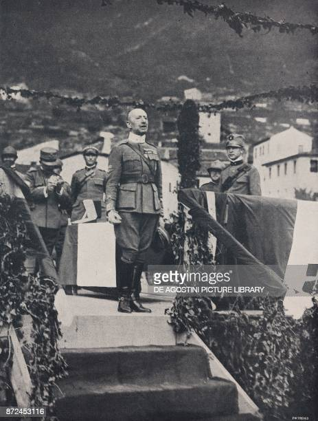 Italian poet Gabriele D'Annunzio in military uniform speaking to the soldiers of the Tuscany Brigade Italy World War I from l'Illustrazione Italiana...