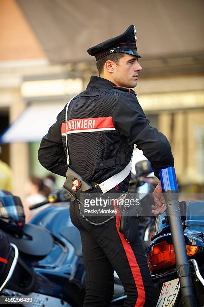 Italian Police Officer Carabinieri with Motorcycle Rome Italy