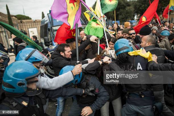 Italian policemen scuffle with proKurdish demonstrators during a sitin near the Vatican in Rome Monday Feb 5 2018Turkish President Recep Tayyip...
