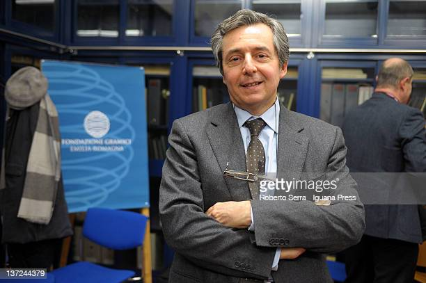 Italian political scientist Carlo Galli attends the inauguration of the public library of the Antonio Gramsci Foundation on January 13 2012 in...