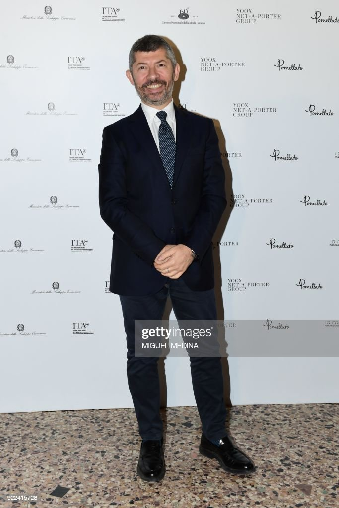 Italian politican Ivan Scalfarotto poses upon the arrival to the exhibition preview of 'Italiana, Italy Through the Lens of Fashion' at Palazzo Reale in Milan, on February 21, 2018. / AFP PHOTO / Miguel MEDINA