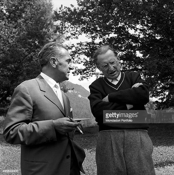 Italian politician Alcide De Gasperi lingering with Italian journalist and coeditor of the magazine Epoca Renzo Segala in the family's estate Borgo...