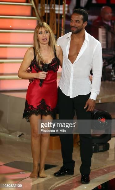"Italian politician Alessandra Mussolini and her dance partner Mikael Fonts attend the ""Ballando Con Le Stelle"" Tv Show on October 17, 2020 in Rome,..."