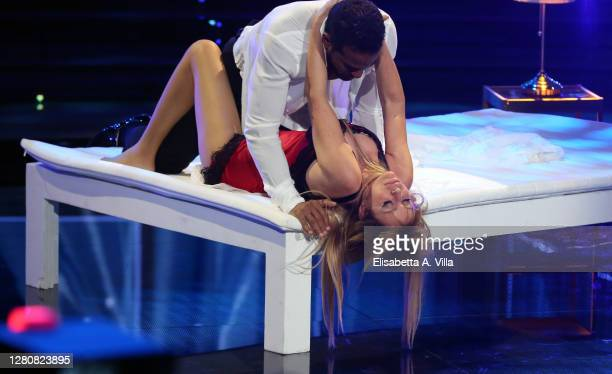 "Italian politician Alessandra Mussolini and her dance partner Mikael Fonts perform on the ""Ballando Con Le Stelle"" Tv Show on October 17, 2020 in..."