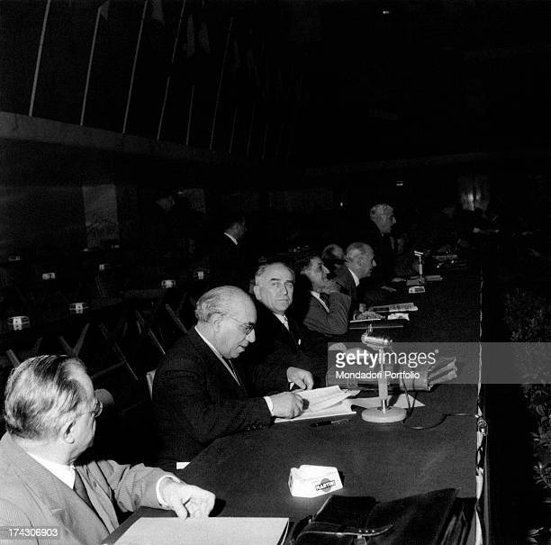 Italian politician and antifascist Luigi Longo known as Gallo attending the 8th congress of Italian Communist Party with other politicians including...