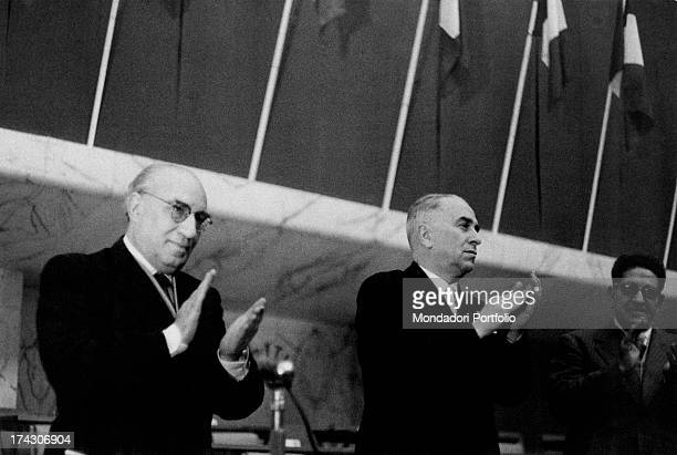 Italian politician and antifascist Luigi Longo, known as Gallo, attending the 8th congress of Italian Communist Party with other politicians...
