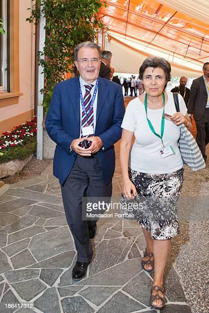 Italian politician and economist Romano Prodi walking beside his wife Italian lecturer Flavia Franzoni The couple is attending the annual economic...
