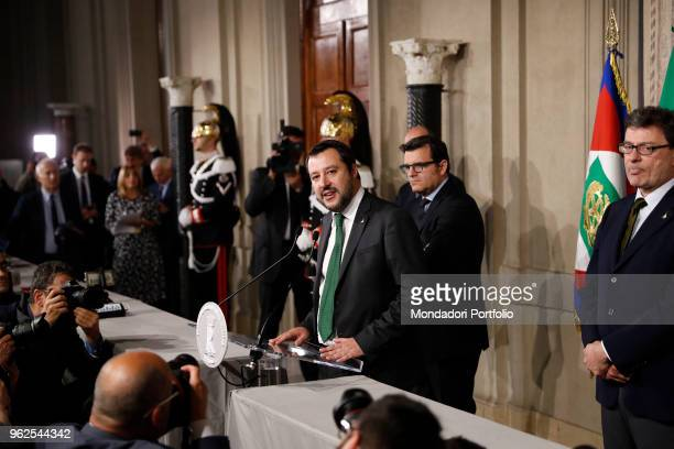 Italian politician and Federal Secretary of Lega Nord Matteo Salvini at Quirinale palace for a round of government formation talks with President...