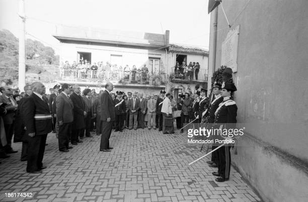 Italian politician and President of the Council of Ministers of the Italian Republic Bettino Craxi attending the commemoration of Italian partisans...