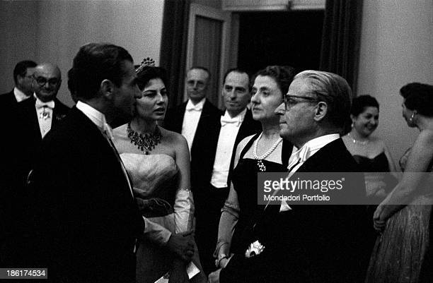 Italian politician and President of the Italian Republic Giovanni Gronchi his wife Carla the Shah Mohammad Reza Pahlavi and Her Imperial Highness...
